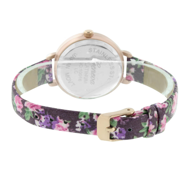 Rose Gold Finish Watch Floral Flower Design Purple Strap Slim