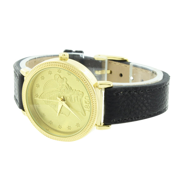 Guinea Coin Dial Watch Gold Finish Black 38mm