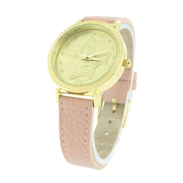 Gold Finish Watch Guinea Coin Design Dial Pink Leather Band