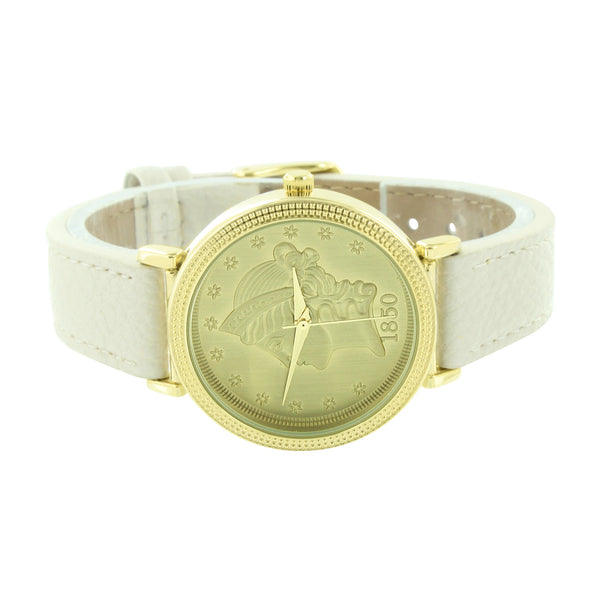 Guinea Coin Dial Watch White Leather Band