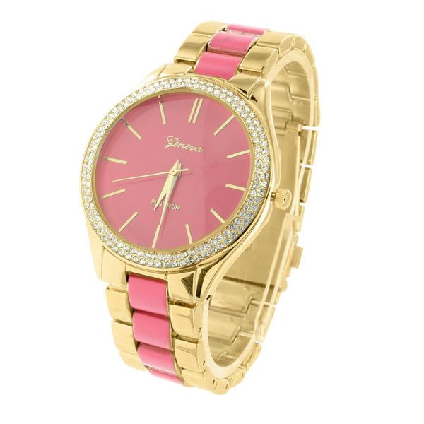 Gold Tone Watch Parker Pave Acetate Pink Dial Simulated Lab Diamond Bezel