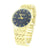 Gold Finish Watch Blue Dial Round Face Metal Band Geneva