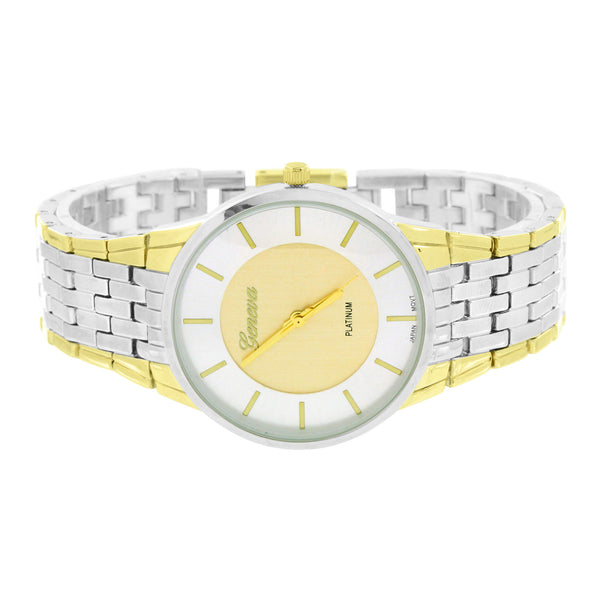 2 Tone Watch White Dial Geneva Platinum