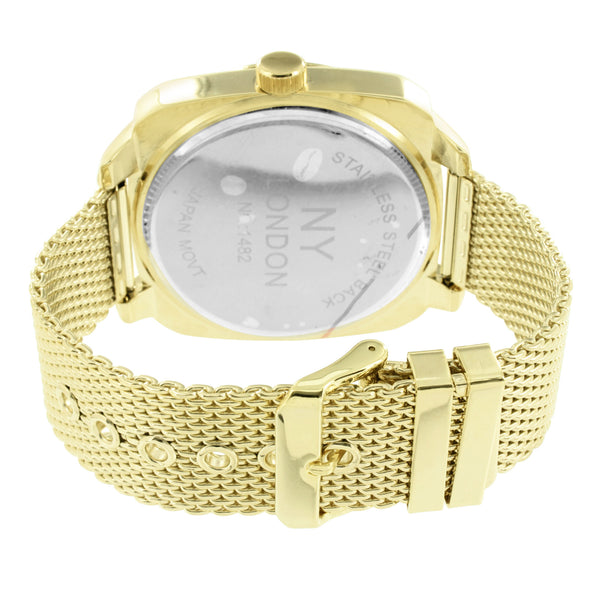 Gold Tone Round Watch White Dial NY London Mens Unique Design