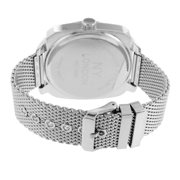 Black Dial Men Watch White Gold Tone Mesh Band Custom Design NY London