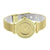 Yellow Gold Finish Watch Women Round Face  Mesh Band