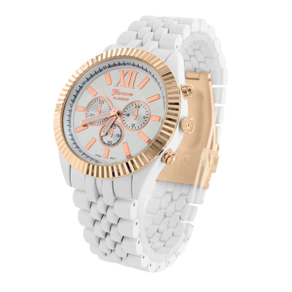 Rose Gold Tone Watch Lexington Womens Party Wear 2 Tone Metal Band