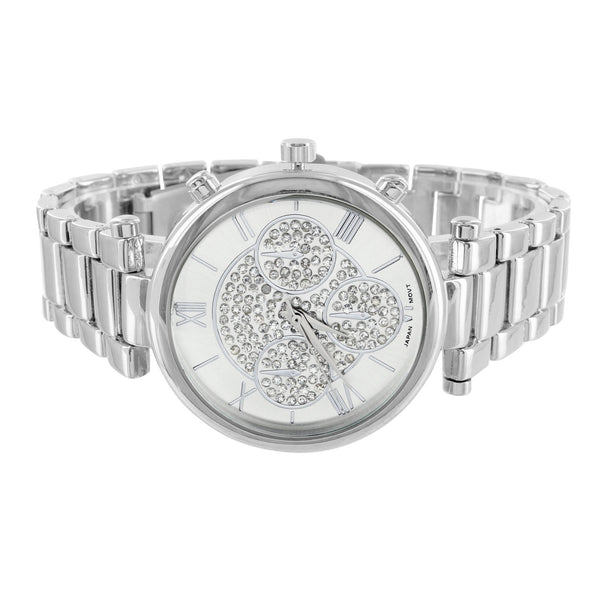 14k White Gold Finish Lab Diamond Dial Watch Roman Numeral Display Metal Band