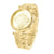 Womens Gold Tone Watch Lab Diamond Dial Elegant Party Wear Steel Back