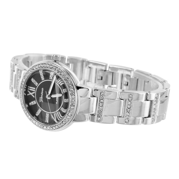 Black Dial Ladies Watch Geneva White Gold Tone