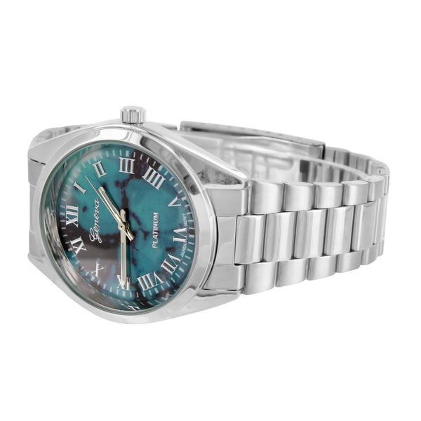 Turquoise Black Dial Watch Female Classic White Gold Tone Water Resist