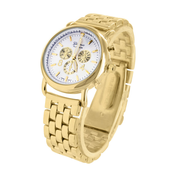 Womens Gold Tone Watch Darci Pave Water Resistant Elegant White Dial