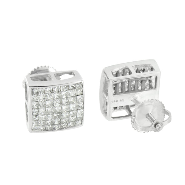 Princess Cut Earrings Mens Womens 14K White Gold Square 1.0 CT