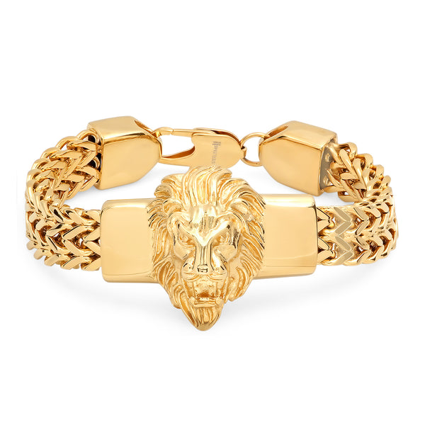 Stainless Steel Lion Head Two Row Franco Bracelet