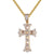 Unisex Holy Cross Religious God Baguette Gold Tone Pendant