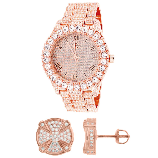 Iced Out Rose Gold Finish Solitaire Bezel Watch Round Earrings Combo