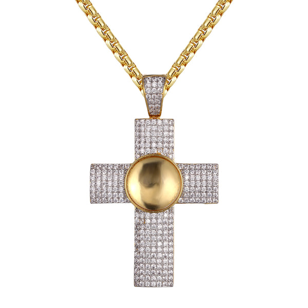 Designer Holy Cross 14k Gold Finish Religious Pendant Chain