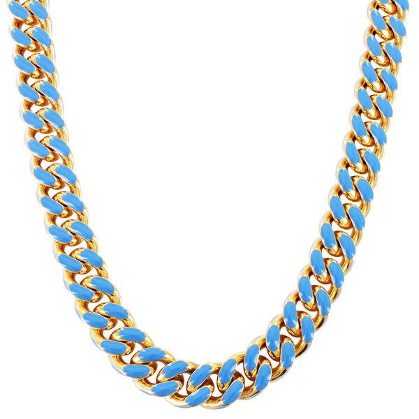 Gold Tone Blue Enamel Miami Cuban Link Box Lock Choker