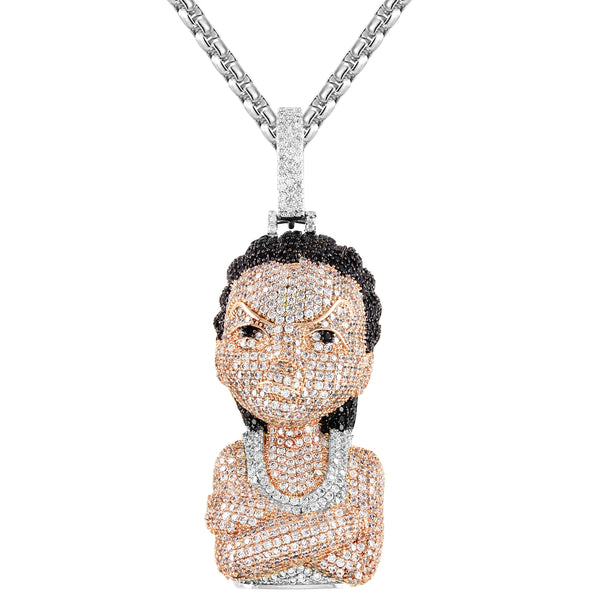 Silver Comic Gangster Character Micro Pave Pendant Free Chain