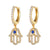 Icy Hamsa Hand Dangling Gold Tone Hoops Silver Earrings