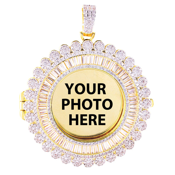 Memory Circle Cluster Baguette Icy Picture Photo Gift Pendant