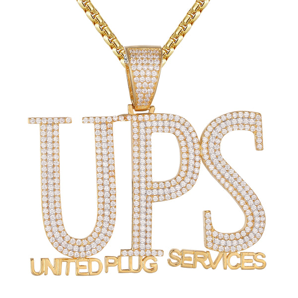 Mens United Plug Services UPS Hip Hop Custom Pendant
