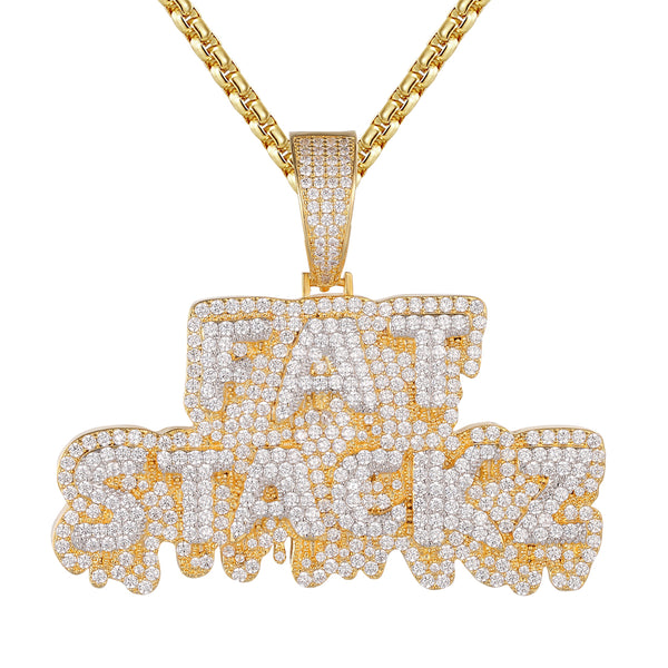 Double Layer Fat Stackz Money Dripping Icy .925  Pendant