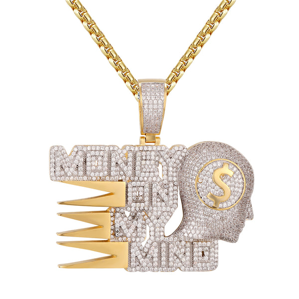 Money on my Mind .925 Icy Dollar Bills Hip Hop Pendant