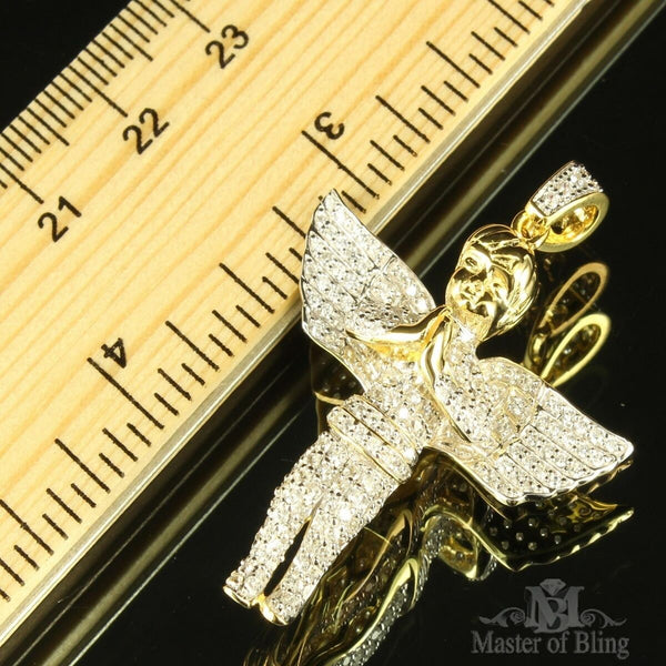 Yellow Gold Finish Angel 925 Silver Sterling Silver Lab Diamond Pendant New