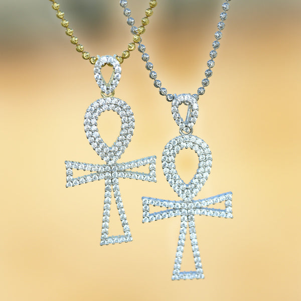Silver Ankh Cross Pendant With Moon Cut Chain