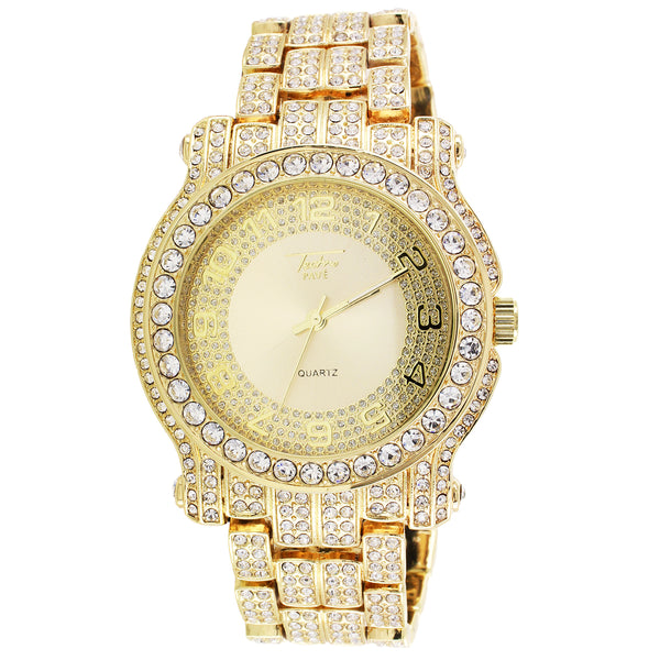 Gold Tone Techno Pave Adjustable Metal Link Bling Rapper Watch