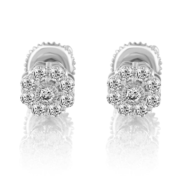 Solitaire Cluster Diamond 10k White Gold Flower Earrings