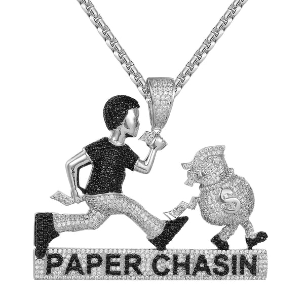 Man Paper Chasin Money Dollar Bag Custom Designer Pendant