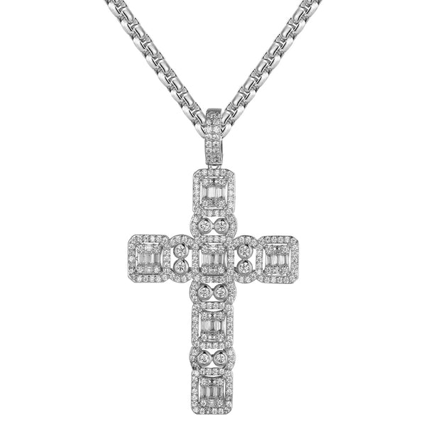 White Tone Religious Cross Baguette Micro Pave Charm