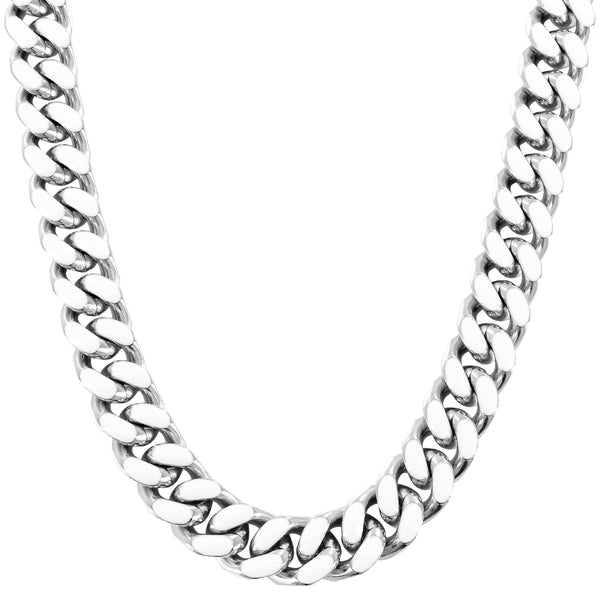 13MM Miami Cuban Link White Enamel Hip Hop Steel Necklace