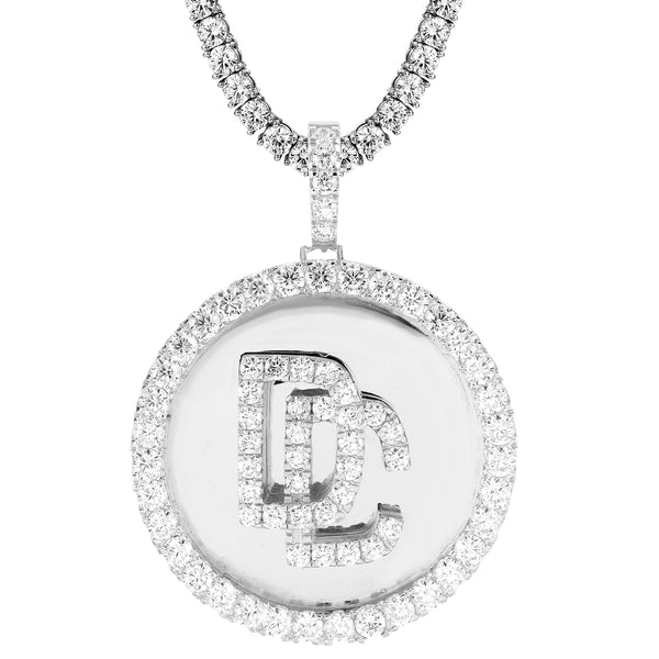 DC Medallion Dream Chaser Hip Hop White Tone Pendant