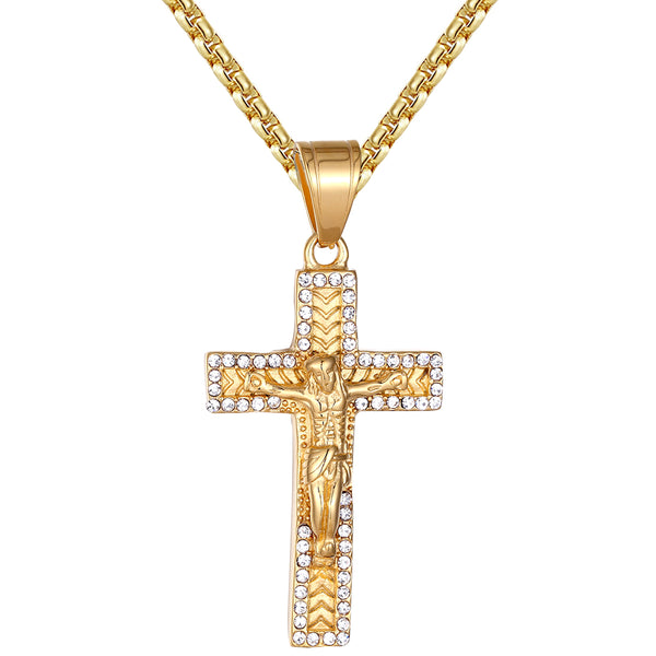 Men's Nugget Style Jesus Christ Crucifix Cross Steel Pendant