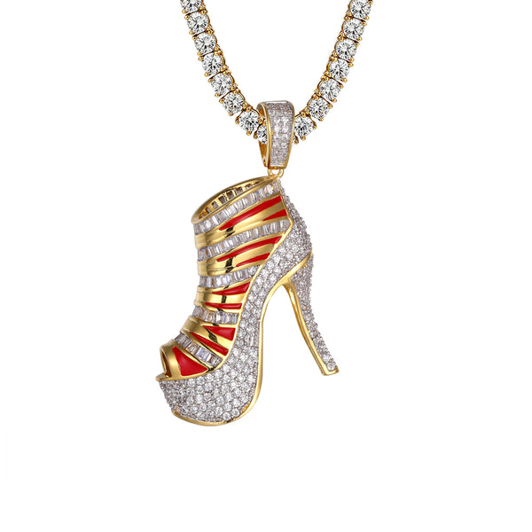 High Heels Gold Finish Hip Hip Icy Baguette Red Enamel Pendant