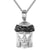 Mens Silver Small Jesus Face Icy Black Crown Religious Pendant