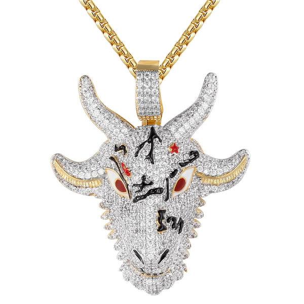 Men's Goat Animal Face Two Tone Enamel Custom Pendant Chain