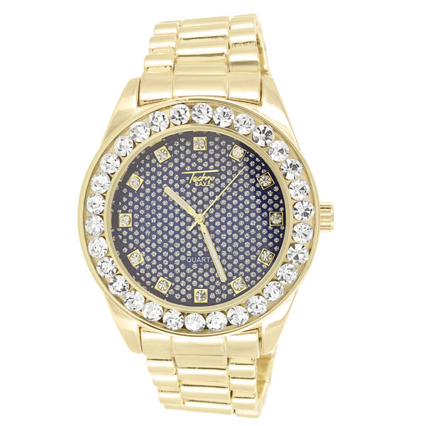 Men's Blue Face Gold Finish Solitaire Bezel Large Watch