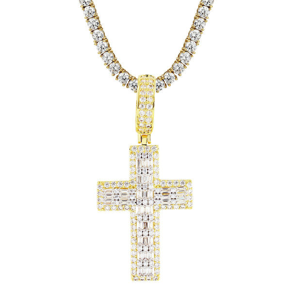 Religious Holy Cross Baguette Micro Pave Gold Tone Pendant