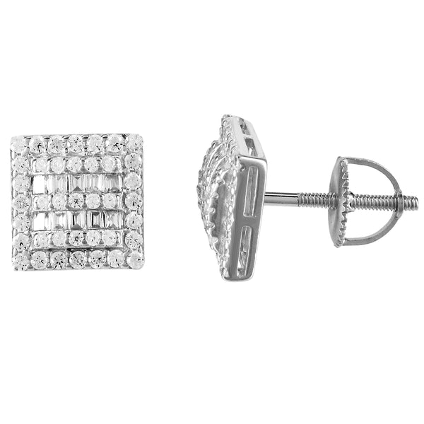 Icy Micro Pave Square Shape .925 Silver Screw Back Earrings