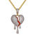 Dripping Broken Heart Red Enamel 925 Silver Bling Rapper Pendant