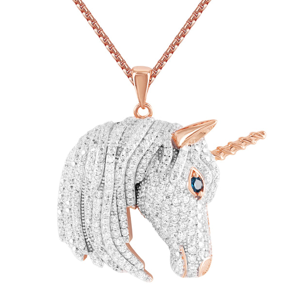 Men's  Unicorn Rose Gold Finish Custom Bling Silver Pendant