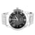 Men's Chrome Finish Black Face Steel Back Metal Link Watch