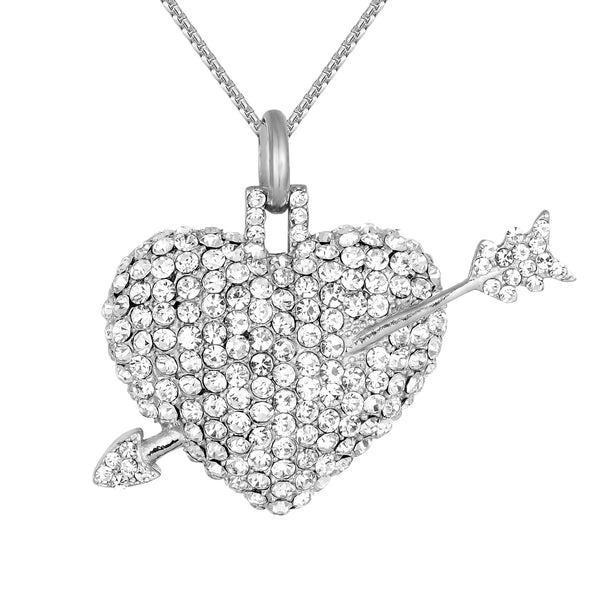 Steel Puffed Love Heart Arrow Cupid Pendant Box Chain
