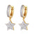 Dangling Star Hoops Micro Pave Silver Gold Tone Earrings