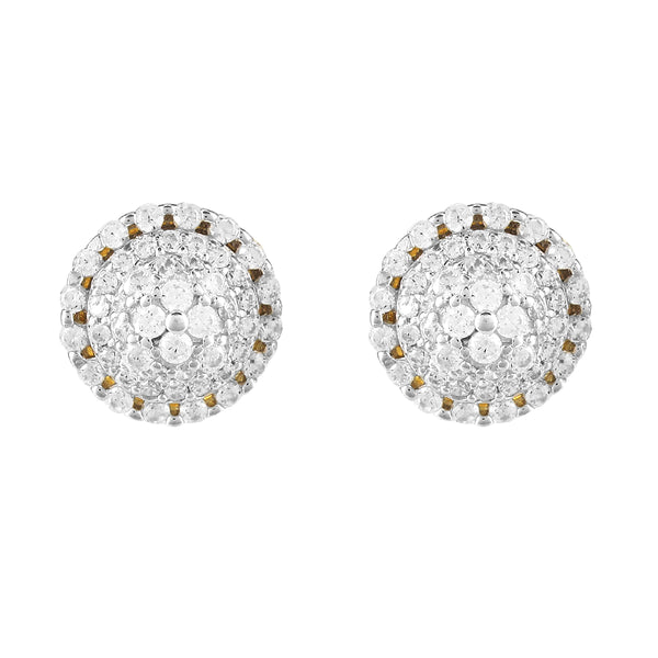 Round Icy Solitaire Cluster Gold Tone .925 Earrings