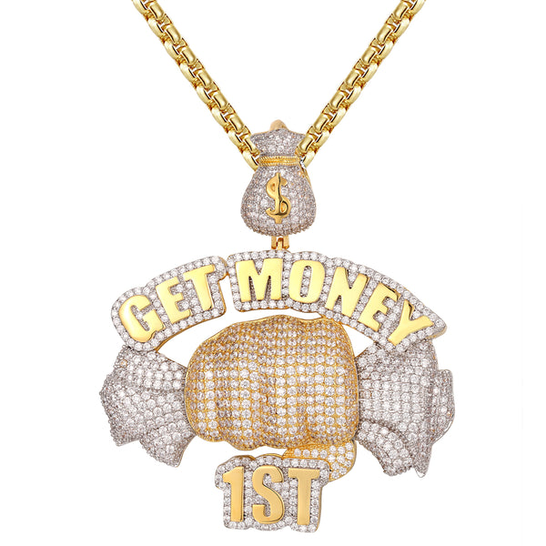 et Money First Hand Holding Dollar Bills Icy Silver Pendant Chain